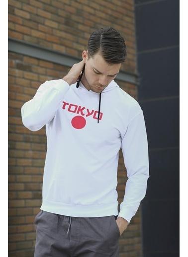 Oksit Korbin Tokyo Ön Ve Sırt Baskılı Slim Fit Sweatshirt Beyaz